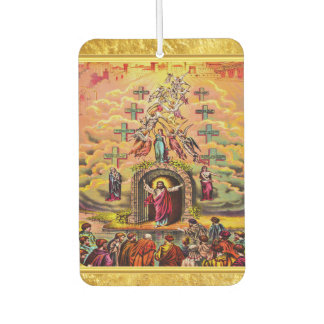 Heaven's Gate with a gold foil texture and Jesus Car Air Freshener