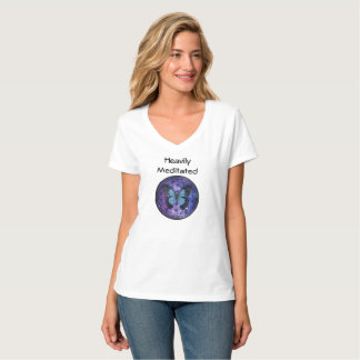 Heavily Meditated w Flower of Life Blue Butterfly T-Shirt