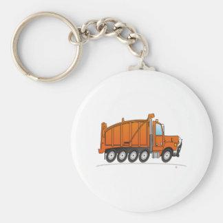 Heavy Duty Dump Truck Orange Basic Round Button Keychain