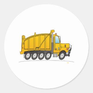 Heavy Duty Dump Truck Yellow Round Sticker