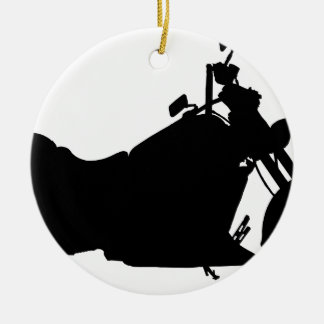 Heavy Duty Motorcycle Silhouette Ceramic Ornament