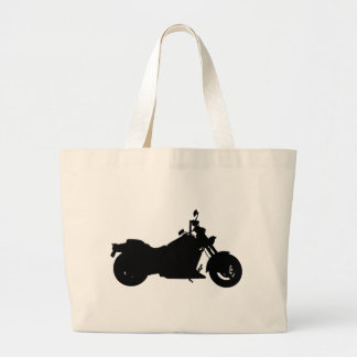 Heavy Duty Motorcycle Silhouette Large Tote Bag