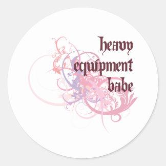 Heavy Equipment Babe Round Sticker