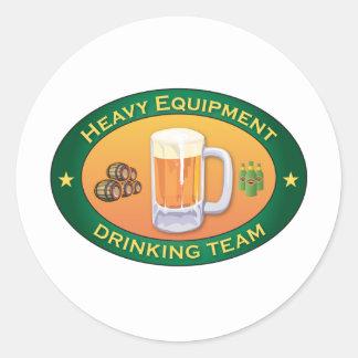 Heavy Equipment Drinking Team Round Sticker