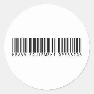 Heavy Equipment Operator Bar Code Round Sticker