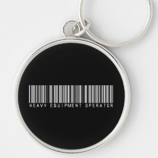Heavy Equipment Operator Bar Code Silver-Colored Round Keychain