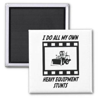 Heavy Equipment Stunts Square Magnet