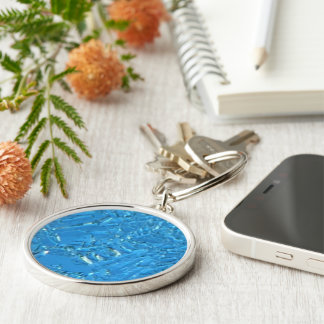 Heavy Frost Silver-Colored Round Keychain