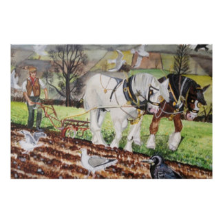 Heavy Horses Ploughing In March Poster