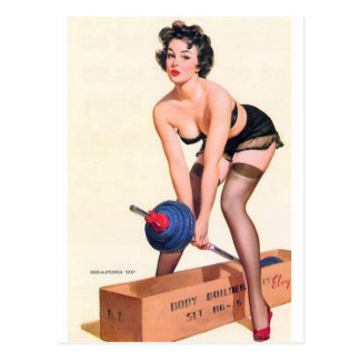 Heavy Lifting Pin Up Postcard