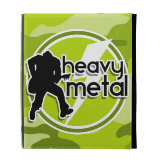 Heavy Metal bright green camo camouflage iPad Folio Cases