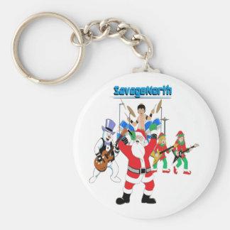 Heavy Metal Christmas Basic Round Button Keychain