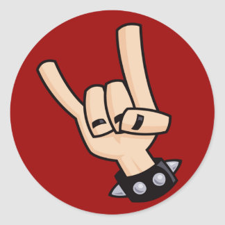 Heavy metal hand sign classic round sticker