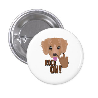 Heavy metal Puppy rock on 1 Inch Round Button
