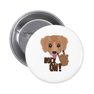 Heavy metal Puppy rock on 2 Inch Round Button