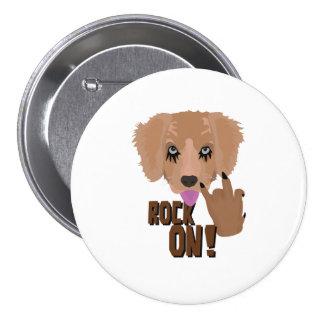 Heavy metal Puppy rock on 3 Inch Round Button