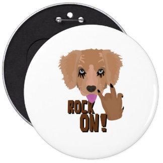 Heavy metal Puppy rock on 6 Inch Round Button