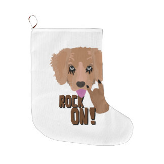 Heavy metal Puppy rock on Large Christmas Stocking