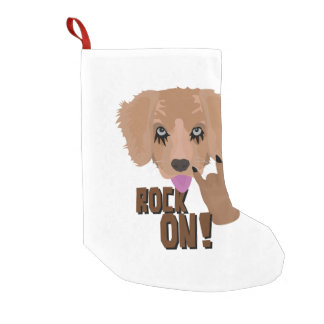 Heavy metal Puppy rock on Small Christmas Stocking