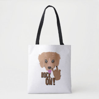 Heavy metal Puppy rock on Tote Bag