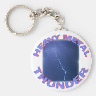 heavy metal thunder basic round button keychain