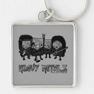 Heavy Metals Silver-Colored Square Keychain