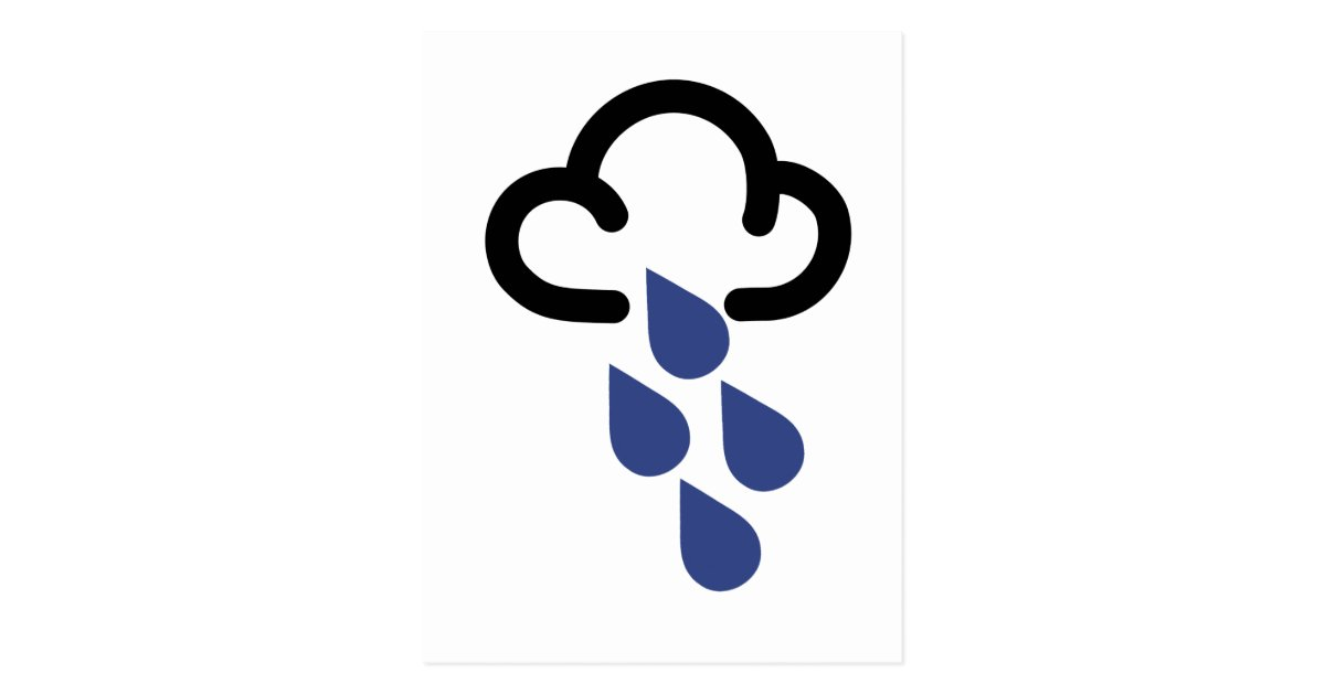Heavy Rain Retro Weather Forecast Symbol Postcard Zazzle