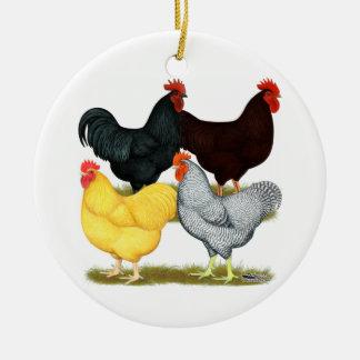 Heavy Rooster Chicken Quartet Round Ceramic Ornament
