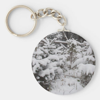 Heavy Snow on Small Pine Trees Basic Round Button Keychain