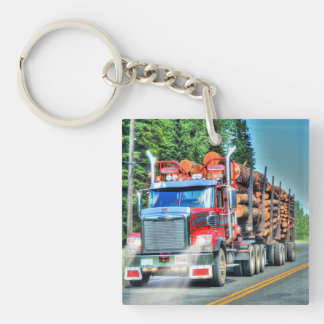 Heavy Transport Logger Truck Art for Lorry Drivers Keychain