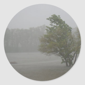Heavy Windy Storm over a already Flooded Lake Round Sticker