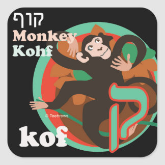 Hebrew Aleph-Bet Animal Stickers-Kof Square Sticker