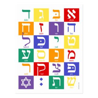 Hebrew Alphabet Rainbow Postcard