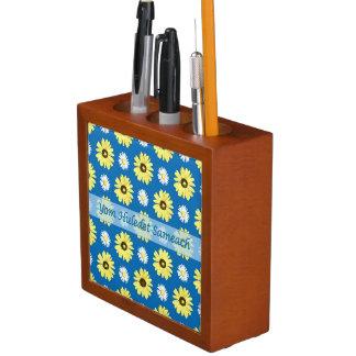 Hebrew Birthday Yellow Daisies Blue Desk Organizer