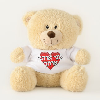 Hebrew I Love You Red Heart Teddy Bear