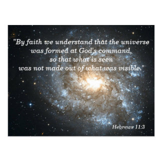 Hebrews 11:3 Christian Scripture Memory Card Postcard