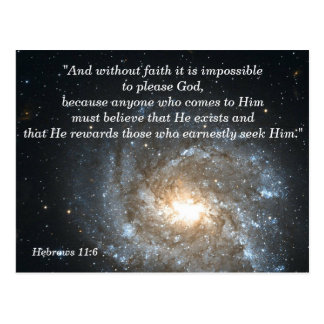 Hebrews 11:6 Christian Scripture Memory Card Postcard