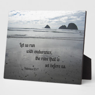 Hebrews 12:1 Let us run with endurance... Plaque