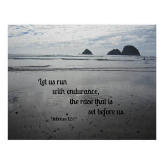 Hebrews 12:1 Let us run with endurance... Poster