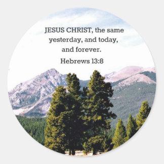 Hebrews 13:8 classic round sticker