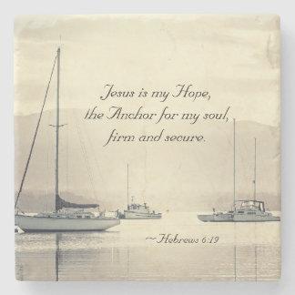 Hebrews 6:19 Jesus Anchor for my soul, Sailboats Stone Coaster