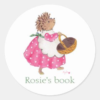 Heddy Hedgehog bookplate Classic Round Sticker