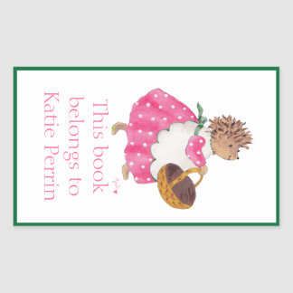 Heddy hedgehog bookplate sticker