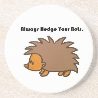 Hedge Your Bets Hedgehog Cartoon Drawing: Coaster