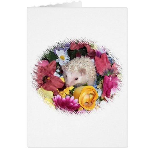 Hedgehog among the flowers card