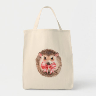 Hedgehog and bow tote bag