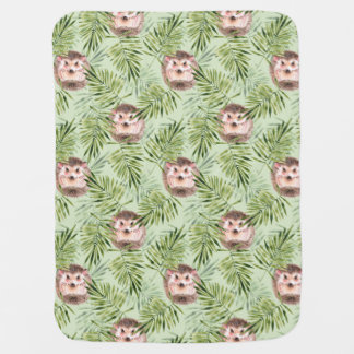 Hedgehog and green leaves baby blanket