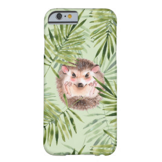 Hedgehog and green leaves barely there iPhone 6 case