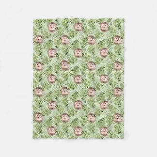 Hedgehog and green leaves fleece blanket