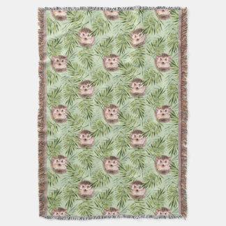 Hedgehog and green leaves throw blanket